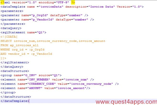 XML Publisher Report From XML Data Template Questapps - Xml invoice template