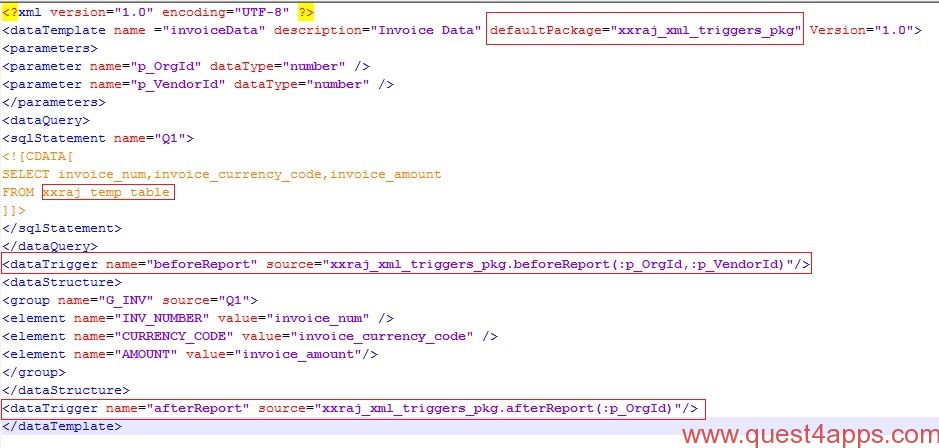 Triggers in XML Data Template - quest4apps