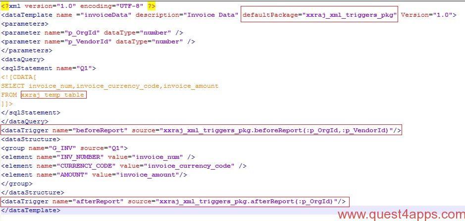 Triggers In XML Data Template Questapps - Xml invoice template