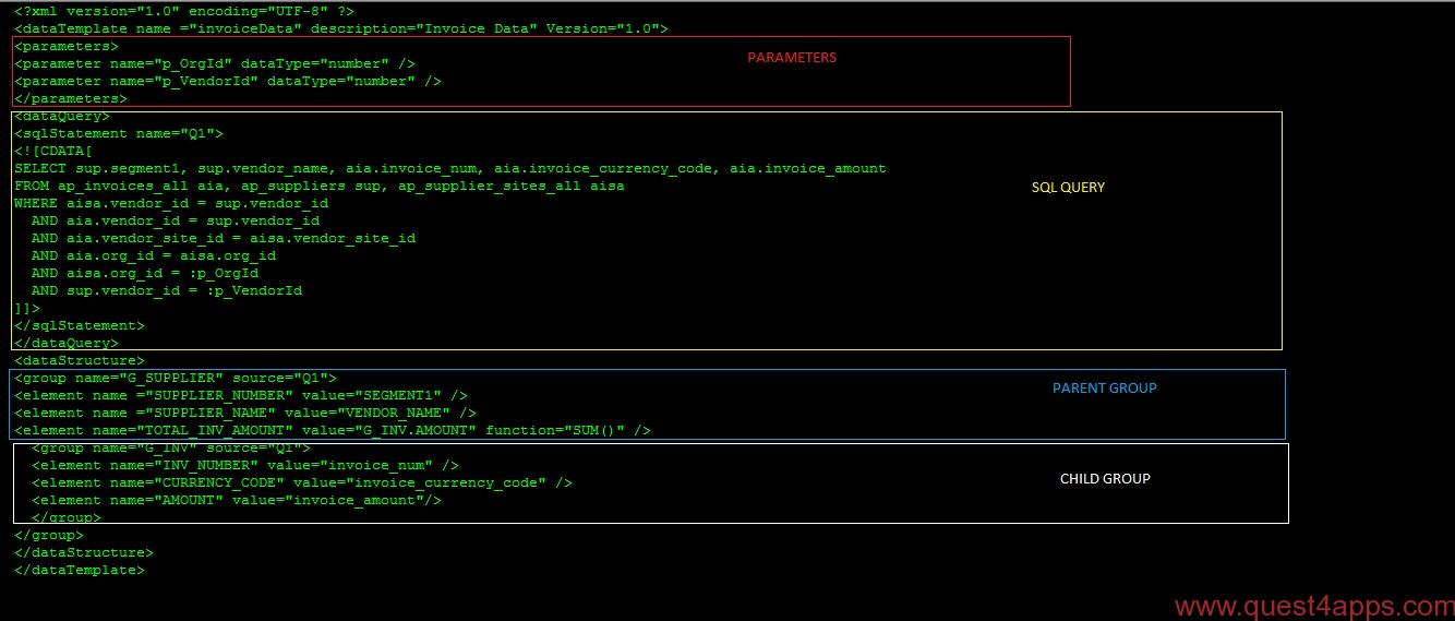 xml publisher report from xml data template part 3