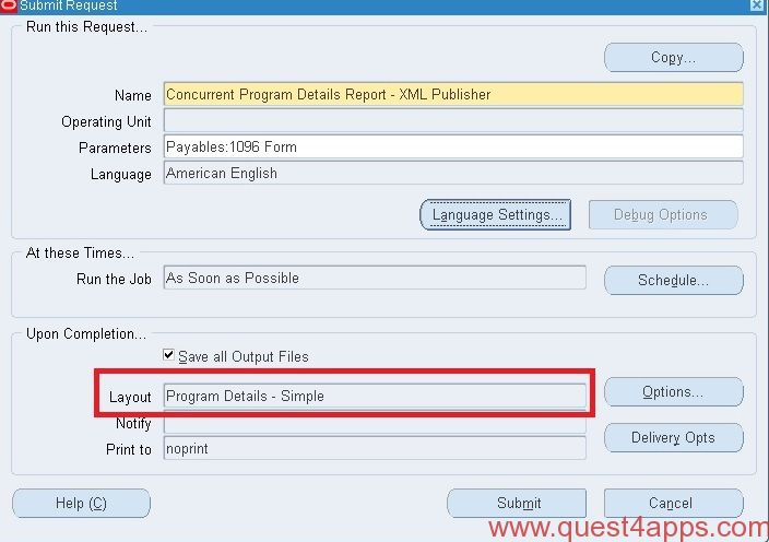 submit xml publisher report from plsql quest4apps